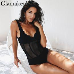 maglia corpetto Sconti Body Glamaker Mesh trasparente Body sexy Body Party nero estivo Body femminile bodycon slim body tuta donna 2018 S1012
