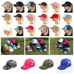 Wholesale flat hats kids - CC Ponytail Baseball Cap 26 Styles Messy High Bun Ponytail Adjustable Glitter Ponytail Hats Kids Caps 10pcs OOA5120