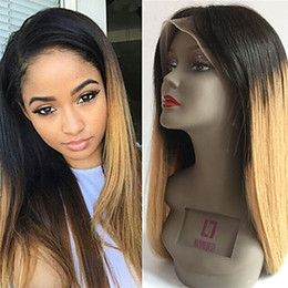 Wholesale Two Color Lace Front Wigs - Free Shipping Two Tones 1b 27# Ombre Blonde Silky Straight Long Wigs Heat Resistant Glueless Synthetic Lace Front Wigs for Black Women