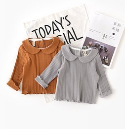 Wholesale Orange Baby Doll - Baby girls stripe T-shirts 2018 spring new little kids doll collar long sleeve T-shirt baby cotton clothing sweet girls princess tops R2497
