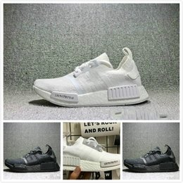 Wholesale japanese laced shoes - 2018 NMD Runner R1 boost Japanese Triple black Triple white Man Running Shoes ultra boost Men Women Sport Sneakers NMD_R1 Primeknit 36-45