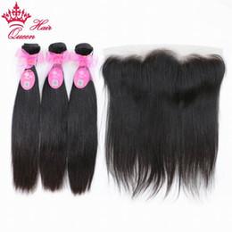 2019 cabelo humano da onda profunda francesa Rainha Do Cabelo Tecer Cabelo Brasileiro 3 Pacotes Com 1 Peça de Renda Fechamento Frontal Virgem Feixes de Cabelo Humano Negócio Frete Grátis