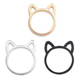 süße katzenohren ring Rabatt Neue Stil Paar Schmuck Silber / Schwarz / Gold Farbe Ring Nette Katze Ohr Ringe Für Frauen Großhandel