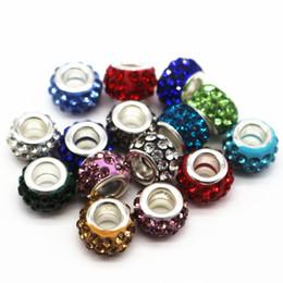 Wholesale Plastic Bracelets Rhinestones - 12mm Big Hole Charms Beads With Rhinestone Diy Jewelry Accessories Making Beads Fits Charms Bracelets Necklaces 100pcs