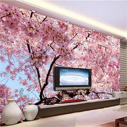 Wholesale Country Living Interiors - Custom Mural Wallpaper 3D Cherry Blossoms Photo Wallpaper Bedroom Living Room TV Backdrop Home Interior Decoration Wall Paper