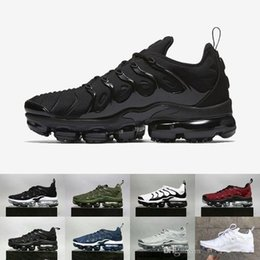 Wholesale Male Lace - Vapormax TN Plus Olive In Metallic White Silver Colorways Shoes Men Shoes For Running Male Shoe Pack Triple Black Mens airs Shoes
