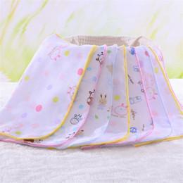 Wholesale Newborn Baby Handkerchief - High quality Newborn baby cotton printed gauze square scarf   baby feeding napkin handkerchief Burp Cloths T2I025