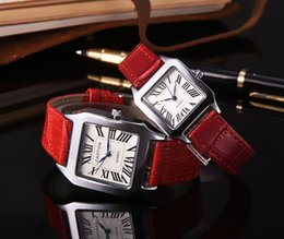 Wholesale navy blue leather belt - day date relogio New Fashion dress Diamond Wristwatch Colorful Brand Genuine leather clock Watches Women Clock full diamond square dial face