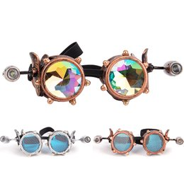 small engines Coupons - FLORATA Vintage Airplane Goggles Retro Welding Steampunk Glasses With Two Small Engine Design Lamps Halloween Cosplay Props
