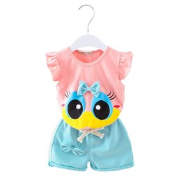 Wholesale Double Ruffled Shorts - Children Sleeveless Vest With Ruffled Bow-tie T-shirt With Pure Color Double Pocket Baggy Shorts Two Pieces Child Suit For ChildrenCotton T-