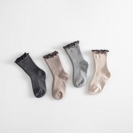 Wholesale High School Babies - Girls Socks Princess Lace Baby Socks Winter Cotton Knee High Long Leg Warmers Cute School Girl Sweet For 0-4 Y Baby