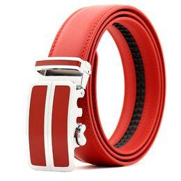 cinture in pelle bianca rossa bianca Sconti Cintura uomo fibbia automatica Cintura uomo Cintura moda uomo Cintura in pelle lendth: 110-125 cm, larghezza: 3,5 cm rosso \ bianco \ nero \ blu