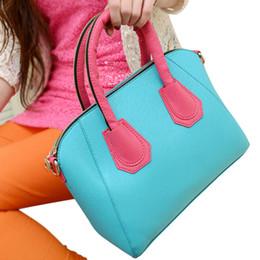 sacs à main en cuir bleu ciel Promotion Mode PU Femmes Messenger Sacs femmes sacs à main en cuir femmes sac à main sac à bandoulière Sky Blue + Rose