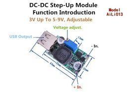 Wholesale 5v Boost - DC-DC Single Lithium Ion Step Up Boost Power Module 3V 5V-9V adjustable current 2A DIY mobile phone standby power