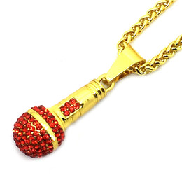 Wholesale Microphone Necklace Men - Out Chain Necklace Microphone Pendant Men Women Stainless Steel Gold Color Rhinestone Best Friend Jewelry Hip Hop P1018