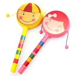 Wholesale Play Day - 30PCS Kids Hand Play Drum Baby Cartoon Smile Rattle Double Wave Kettle Plastic Music Instruments Toys