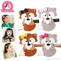 Wholesale hairpin band - Baby Headbands Hairpins Cartoon Fox Kids Elastic Cute Hairbands Head Bands for Girls Children Girls Headdress hair accessories KHA647