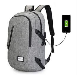 Wholesale teenage girl canvas backpacks - Men's Canvas Waterproof Backpack for Teenage Students School bags Male USB Charging Travel Bag Multifunctional Mochila