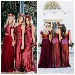 2019 contas de pescoço nigeriano Top Venda Borgonha Lantejoulas Longo Da Dama de Honra Vestidos Vestidos de Dama de honra Feitos Sob Encomenda do País Estilo A Linha de Tule Formal Vestidos de Convidado Da Festa de Casamento