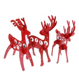 Wholesale shop window christmas decorations - Red Elk Ornaments Assembled Wooden Christmas Decorations for Home Windows Shops Deer Pendant Kids Christmas Gifts