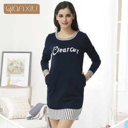 ef6fd560e2 Qianxiu Cotton Sleepshirts For Girl Summer Sexy Nightgown Soild O-neck  Sleepwear For Women