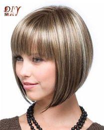 LMSW28 joli style courte perruques de cheveux raides pour les femmes mixtes blonde perruque de cheveux ? partir de fabricateur