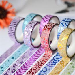Wholesale Vinyl Glitter - 10PCS 1.5cmx3m GlitterTape Adhesive Tape Glitter Pattern Tape Wallpaper Sticker Self Adhesive Decorative Sticker Rolls Decor for Home Decor