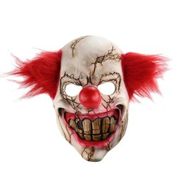 horrible costumes Coupons - Halloween Toothy Realistic Creepy Horrible Joker Clown Mask Cosplay Costumes Masquerade Supplies Party Props
