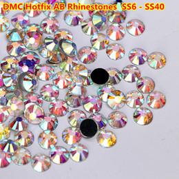 2019 vidro dmc SS6-SS40 1440 pcs DMC Cristal AB Strass Hotfix Cristal De Vidro Flatback DMC Hot Fix Pedras para Roupas Decoração de Unhas DIY vidro dmc barato