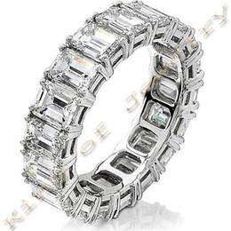 Wholesale Usa Diamond - 5.00 Ct. Emerald Cut Diamond Wedding Band Prong Set Diamond Eternity Ring USA
