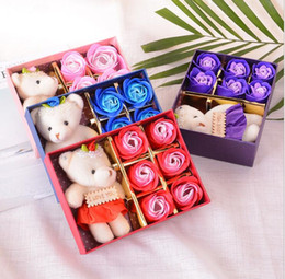Wholesale Artificial Little Flower - Romantic Artificial Rose Flower With Little Cute Bear Doll 6pcs Box Gift For Valentine Day Gifts for Wedding birthday KKA3979