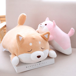 Discount fat stuffed animals - 1pc 55cm Cute Fat Shiba Inu Dog Plush Pillow Stuffed Soft Cartoon Animal Toys Lovely Kids Baby Children Christmas Gift Dolls