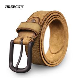 Wholesale Old Jeans - Top Cow genuine leather belts for men jeans Do old rusty black buckle retro vintage mens male cowboy belt ceinture homme