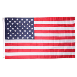 Wholesale Flag Stars - 20pcs Free shipping 90cmx150cm Polyester USA American Flag US United States Stars Stripes Home Decoration Souvenir Free Shipping H218w