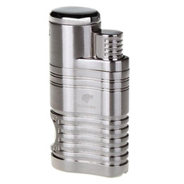 Wholesale punch cigars - COHIBA Fashion High Quality Windproof Lighter Torch Jet Flame Refillable Inflatable Four Flame Lighter & Cigar Punch Lighter