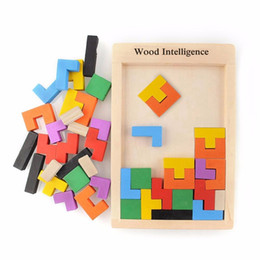 Wholesale Kids Brain Games Toy - Hot Sale Colorful Wooden Tangram Brain Teaser Puzzle Toys Tetris Game Intellectual Educational Toy Gift for Kids Children