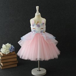 Wholesale Wholesale Childrens Party Dresses - Summer Fashion unicorn Girls Dresses floral Childrens Princess Dresses cute birthday kids Party Dress wedding dress Pettiskirt B11