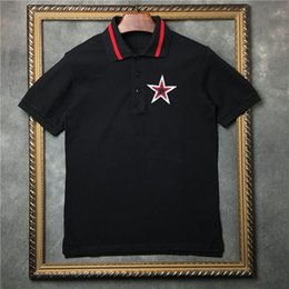 Wholesale Embroidered Shirts Women - 2018 Europe Luxury brand Summer t shirt mens Embroidered Pentagram polo shirts top Quality Men Women Designer t shirt Cotton Tee Tops
