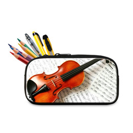 Wholesale Stationery Pencil Box - Hot Sale Multifunctional Pencil Bags Violin Pattern School Stationery Pen Box Container For Boys Girls Zipper Pencil Cases Pouch For Student