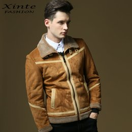 Wholesale Wool Lined Leather Jacket - 2017 Men Warm Suede Leather Jacket Casual Outwear Slim Parka Faux Lamb Wool Lining Top Quality 4XL