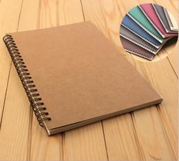 книги с вкладышами Скидка B5 сыпучих листьев связующего ноутбук крафт-бумаги правили блокноты студент тетрадь спираль наполнитель Блокнот школьные принадлежности 60 листов 7 цветов