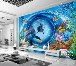 Wholesale Underwater Wall Art - Cartoon Underwater World Custom photo wallpaper art wallpaper restaurant retro sofa backdrop 3d wallpaper 3d mural wall paper home decoratio