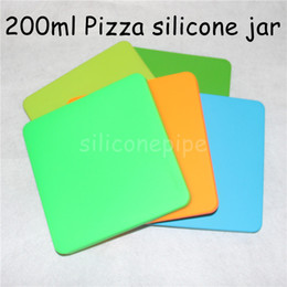 Wholesale Pizza Toys - Flat shape bho box concentrate silicone container 200ml for dab pizza box shaped wax container Square big personized vacuum sealable