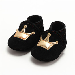Wholesale Toddler Boy Crown - Classic Genuine Leather Baby Boy Girls First Walkers Newborn Crown Walker Toddler Infant Kids Footwear Soft Sole Anti-Slip Shoes