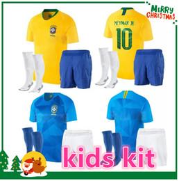 Wholesale Black Xs - 2018 Brazil kids kit Jersey World Cup NEYMAR JR G.JESUS P.COUTINHO MARCELO RONALDINHO DAVID LUIZ Soccer Jersey 2019 Brazil Football Jersey