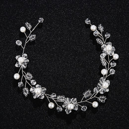 Wholesale Crystal Headbands For Flower Girls - 100% Manual Winding Head Jewelry For Women Girls Clear Crystal Flower Headband Simulated Pearl Floral Tiaras Wedding Bridal Headpieces