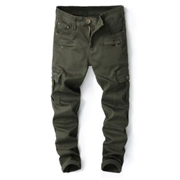 tactical jeans Promo Codes - MORUANCLE New Mens Style Cargo Jeans Trousers With Big Pockets Casual Tactical Denim Workpants Size 29-38 Army Green