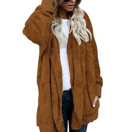 Primavera mujer abrigos de piel online-Año nuevo de primavera Faux Fur Teddy Bear Coat Jacket Moda mujer de punto abierto Denim con capucha abrigo para mujer prendas de vestir exteriores Fuzzy Jacket