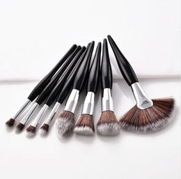 Wholesale fan set - 8Pcs Professional Makeup Brushes Set Powder Blush Foundation Eyeshadow Make Up Fan Brushes Cosmetic Kwasten Sets