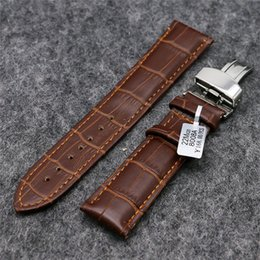 Wholesale Fashion Strap Leather Bracelet - Fashion Men Women 18mm 20mm 22mm Brown Genuine Leather Band Simple Watch Strap Bracelet Clasp Replacement